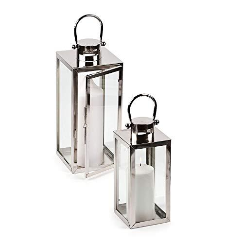 pajoma Laternen Verona, aus Edelstahl im 2er Set, Silber, Windlicht Kerzenhalter Gartenlaterne Höhe 25/42 cm