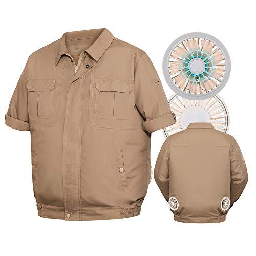 LOONTS 空調 服 熱中症対策 ファン作業服 釣り服 長袖半袖調節可 USBケーブル 3段階調節 静音エンジン 低騒音 超軽量 強い動力(2ファン穴カーキ,4XL)