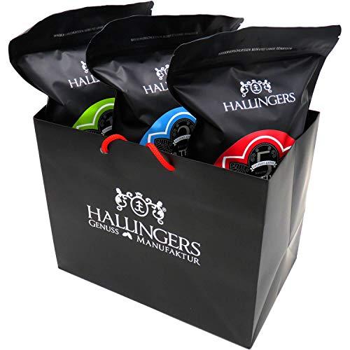 Hallingers 3er Premium Kaffee-Set, schonend geröstet (1.500g) - Esspresso (One, Three, Five), 3x 500g (Aromabeutel) - zu Weihnachten