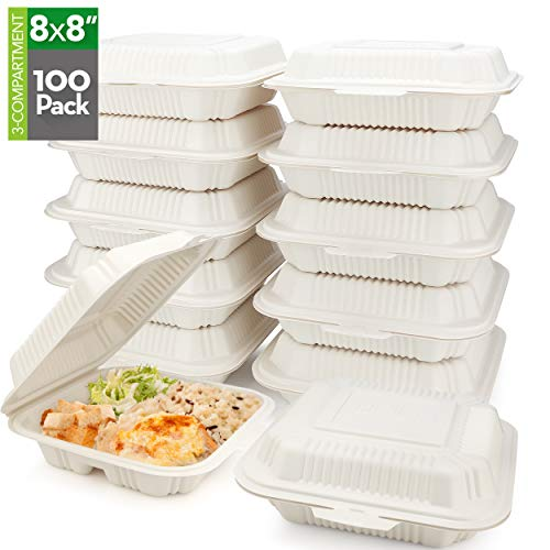 HeloGreen [100 Count] Eco Friendly Take Out Food Containers (8 'x 8', 3-Comp.) - Non Soggy, Leak Proof, Disposable To Go Containers, Boxes, Made From Cornstarch - Microwave Safe