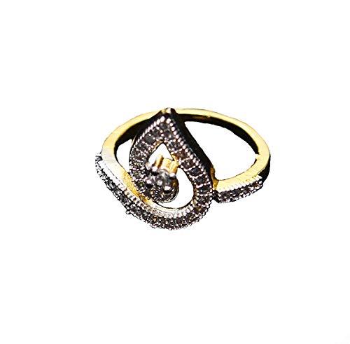 CaratYogi Ethnic Design Polki Ring Pear Cubic Zircon White Unique Gold Plated Designer Jewellery for Girls Ladies Women MNR 42