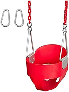 Rainbow Toys High Back Toddler & Baby Swing,Baby Plastic Swing Full Bucket Toddler Swing Seat with 1.2 m Swing Chains and ...