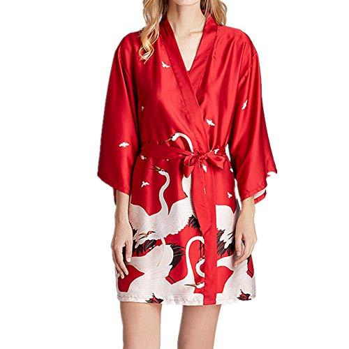 Nobrand Pyjamas Damen Seide Nachthemd Bademantel Morgenmantel Dunhuang Wandbild Druck Home Service Gr. Medium, Rot 1