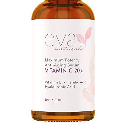 Suero de Vitamina C al 20% Eva Naturals (1 oz) el Mejor Suero de Vitamina C para Rostro, Anti-Edad, Protección Rayos UV y Radicales Libres, Ácido Hialurónico, Vitamina E y Cúrcuma, Fórmula Mejorada