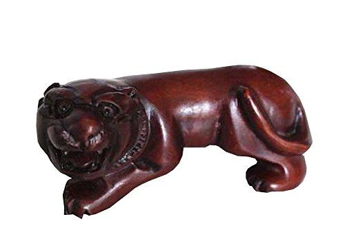 Mignon Tigre en bois Sculpture Home Decor cadeau Mini Tigre Rouge foncé 3 cm