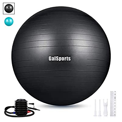 GalSports Exercise Ball (45cm-75cm), Anti-Burst Yoga Ball Chair Supports 2200lbs with Quick Pump, Stability Fitness Ball for Birthing & Core Strength Training & Physical Therapy