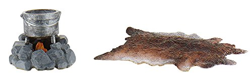 Bullyland 54565 - Zubehör für Spielfiguren - Fellteppich, Feuerstelle und Kochtopf