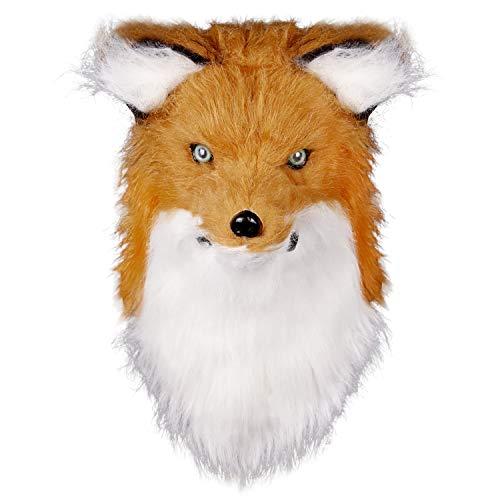 molezu Movable Mouth Fox Maske, Kostüm Cosplay Mouth Mover Wolf Masken, Plüsch Kunstpelz Anzug für Halloween Party (Gelb)