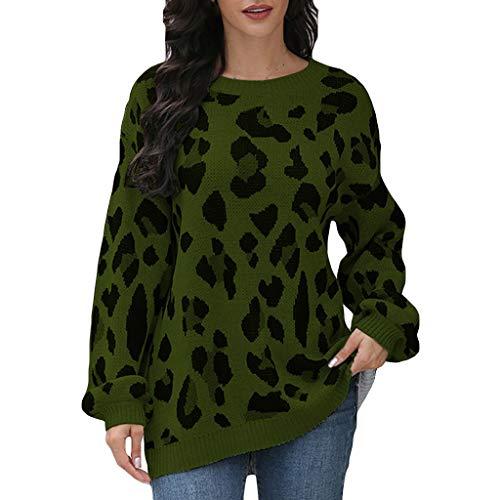 EUCoo Suéteres de manga larga para mujer, estilo casual, sueltos, con estampado de leopardo (U)