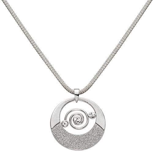 Perlkönig Milanese Kette Halskette | Damen Frauen | Spiralzauber in Silber | Rund | Glänzend Matt strukturiert | Glitzer Steine | Karabiner | Nickelabgabefrei