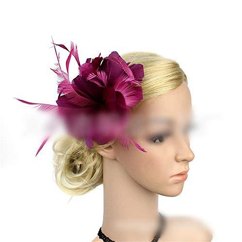 Ouzhoub Accessoires pour Cheveux, Grandes Plumes Fleur Épingle Cocktail thé Robe de mariée Accessoires Cheveux Clip Headpiece Mariage (Color : Purple Rose)