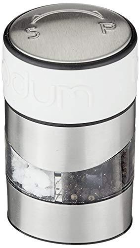 Bodum TWIN Salz- und Pfeffermühle (Einstellbares Keramikmahlwerk, Rutschfester Silikon-Griff, 12 cm) cremefarben