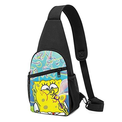 AOOEDM Sling Bag - Spongebob Spits Bubbles Crossbody Sling Backpack Travel Hiking Chest Bag Daypack for Women Men
