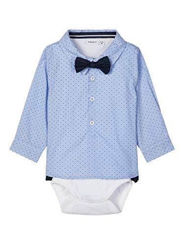NAME IT Baby Jungen Hemd-Body mit Fliege NBMROHAN Shirt Body, Größe:80, Farbe:Cashmere Blue