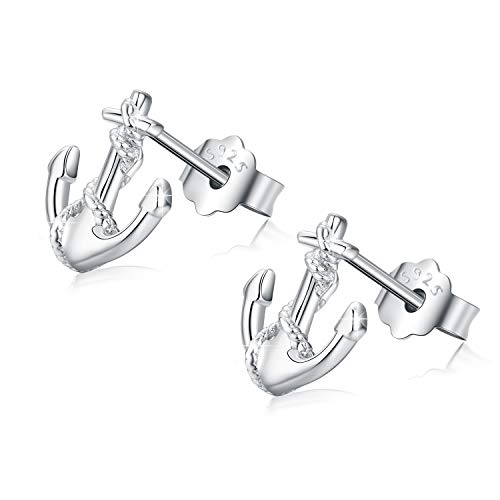 Anchor Earrings,Sterling Silver Anchor Stud Earrings for Women Girls Men Small Rope Nautical Earrings with Gift Box(Silver-3)