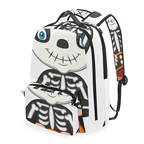 YCHY Disfraz de esqueleto de niño de dibujos animados con calabaza,mochila escolar...