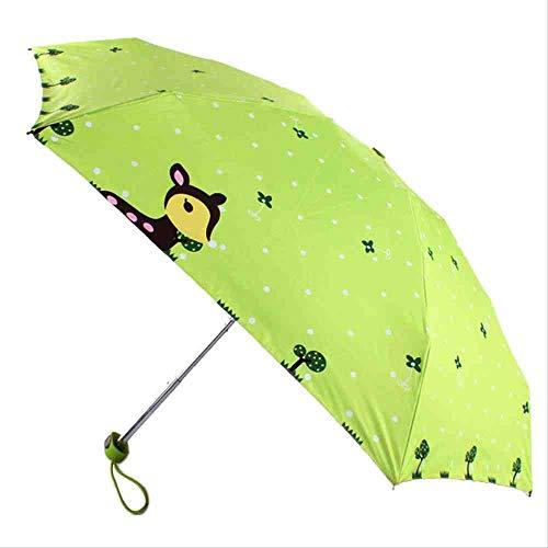 QNBD Tragbare Frauen Regenschirm Falten Kompakte Dame Kleine Kapsel Regenschirme Chic Tier Deer Mini Tasche UV Kapsel RegenschirmGrün