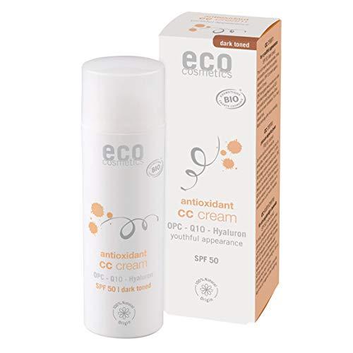eco cosmetics Bio CC Cream, Tagescreme getönt mit OPC, Q10 und Hyaluronsäure, vegane Anti Faltencreme, LSF 50, 1x 50ml (dunkel)