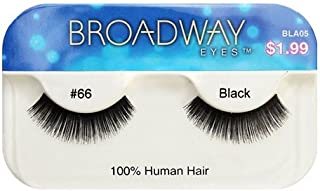 Broadway Eyes False Strip Eyelashes 100% Human Hair Black #66, BLA05 (12 Pack)