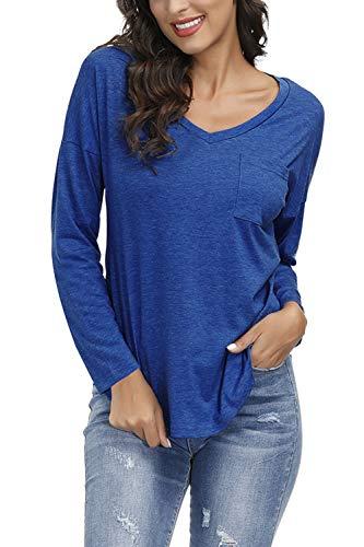 Yidarton Damen Sommer T-Shirt Basic Kurzarm Tops V-Ausschnitt Lockere Oberteile Solide Casual Shirts Ls-blau L