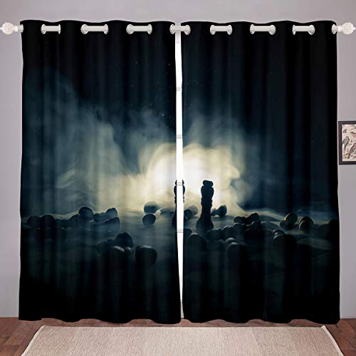Castle Fairy Silent Struggle International Chess Window Curtain Blackout Room Darkening 3D Chess Print Thermal Insulated Brushed Curtains Microfiber Warmly 2 Panel Set, 104Wx84L inch