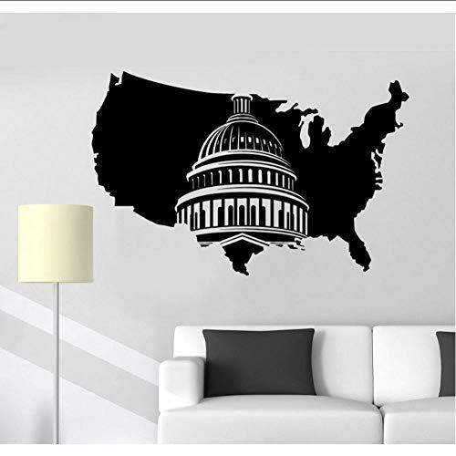 Layyyqx Adesivo Murale In Vinile Mappa Washington Capitol Adesivo Murale Mobili Soggiorno Adesivo Da Parete Decorazione 89X57Cm