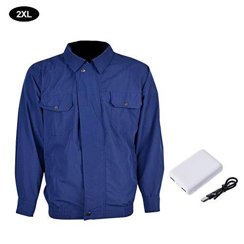 Cracklight - Abrigo refrigerante para ventilador de aire acondicionado, ropa de trabajo, chaqueta térmica con protección de ventilador para trabajadores de alta temperatura, azul, 2XL