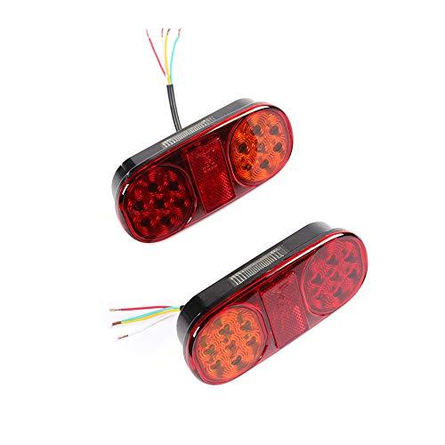 ETUKER 2PCS Pilotos LED Remolque, 12V Impermeable Universal Piloto Trasero Remolque Luces de Freno Traseras Con Lámpara De Matrícula, Para Camión/RV/Caravana/Barco/Luces Remolque Traseras (2PCS)