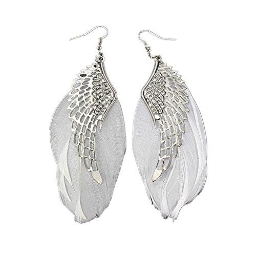 Damen Ohrringe Schmuck Ohrstecker Stecker DAY.LIN Engel Metall Flügel böhmischen handgemachte Vintage Feder lange Ohrringe (Schwarz) (Weiß)