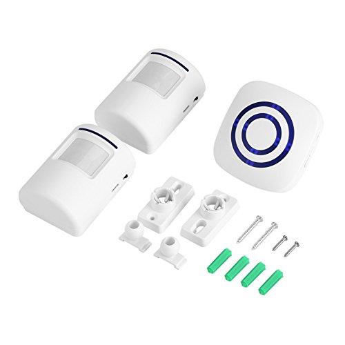 Draadloze detector-ingang deurbel infrarood sensor beweging alarm met ontvanger en zender 38 Chime Tunes LED-indicatoren 1+2 Eu