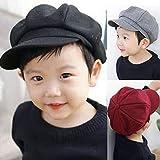 geiqianjiumai Kinder Wolle Kindermützen Männer und Frauen Baby achteckige Mützen Hüte Kinder Sonnenhut grau 50-52CM