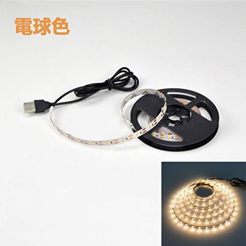 LED テープライト USB対応 1m SMD3528 5V LEDテープ 電球色 昼光色 間接照明 棚下照明 テレビの背景照明用LED (電球色, 100cm)