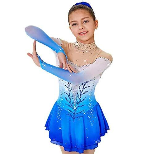 Vestido de patinaje artístico para niñas, vestido azul de una pieza, patinaje sobre ruedas, baile, traje de actuación, cristal hecho a mano, traje de patinaje elástico alto de spandex , personaliza