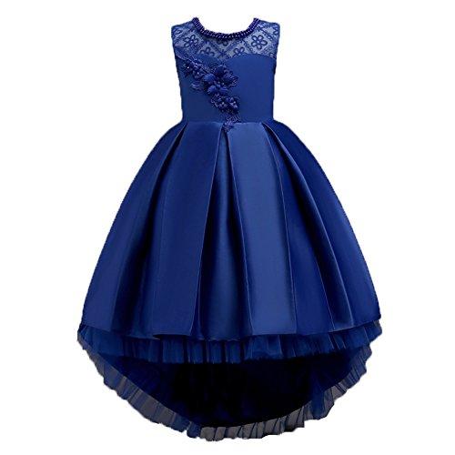 Wulide Kinder Mädchen Abendkleid Prinzessin Kleid Festkleid mit Blumen, Blau,...