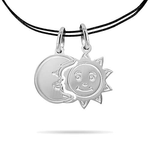 Inscintille Collar dulces, diseño de sol y luna mitad ajustable de plata 925