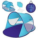 multifun UPF 50+ Easy Pop Up Beach Tent, Large 3-4 Person Sun Shelter, Instant Sunshade, Waterproof Portable Beach Shade, Windproof Sport Umbrella, Easy Setup, Picnics, Hiking, Camping, Fishing-Blue