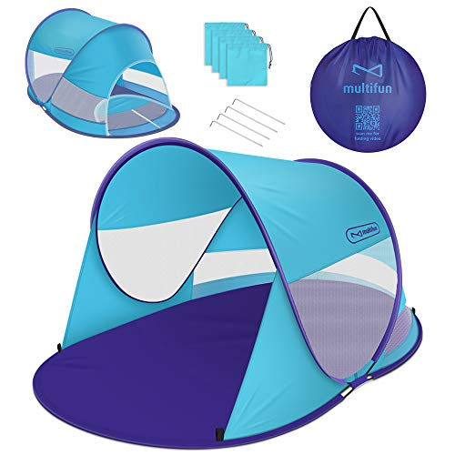 multifun Pop Up Tent, UPF 50+ Beach Tent Large 3-4 Person Sun Shelter, Instant Sunshade, Waterproof Portable Beach Shade, Windproof Sport Umbrella, Easy Setup, Picnics, Hiking, Camping, Fishing-Shark