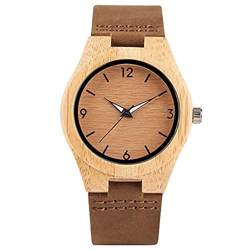 HYLX Reloj de Madera, Relojes, Correa de Cuero para Mujer, Caja de bambú, Reloj de Pulsera de Moda para Mujer, Esfera Amarilla Clara de Madera, Reloj Femenino Moderno, Regalos