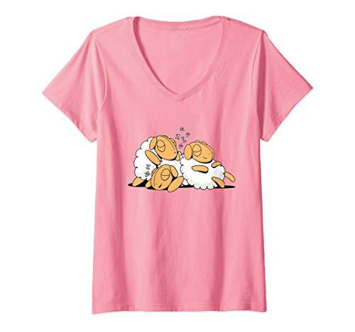 Damen Lustiges Schlafende Schafe Geschenk Für Mama Schlaf Schaf T-Shirt mit...