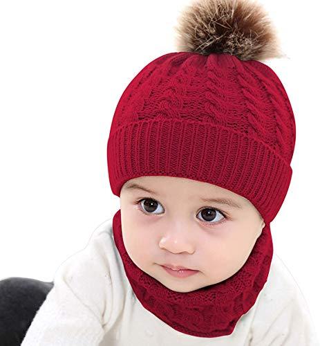 SOULBEST Baby Kinder Winter Warm Gestrickter Mütze Schal Set mit Fleecefutter und Bommel - Winterschal Warme Schlupfmütze Winter Hat Schlauchschal für 0-36 Monate (Rot)