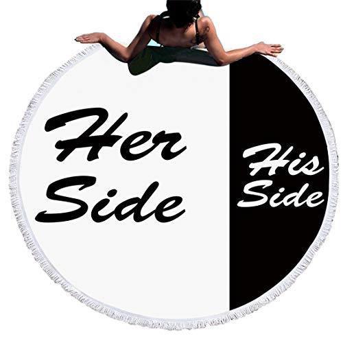 Sticker Superb Blanco y Negro Her Side and His Side Toalla de Playa Redonda con Borlas,Adulto Niño Bebe Manta de Playa Manta de Yoga con Colchas,Viajes/Camping/Bajo Techo(Pareja, 150cm)