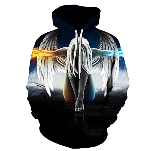x8jdieu3 Creative Angel Wings 3D-Digitaldruck Lose Kapuzenjacke für Herren und Damen