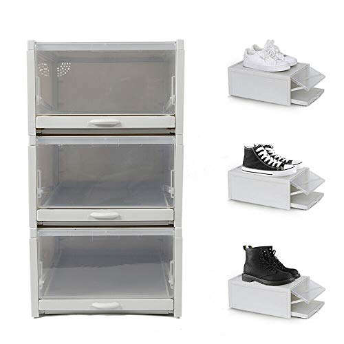 Juego de 3 cajas apilables para zapatos (polipropileno, ideal para habitaciones pequeñas, dormitorios, zapateros, armarios pequeños, etc.