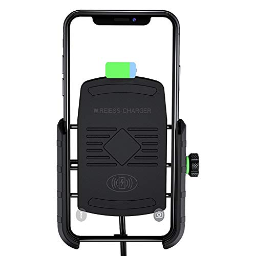 KKmoon Handyhalterung Fahrrad, Motorrad Drahtloses USB Schnellladung 2 in 1 Aluminium Halterung Wasserdicht mit 360 Drehen für Motorrad Dreiräder Schneemobile für 4.5-6,7Zoll Handy