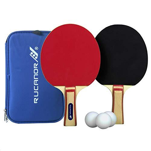 Rucanor Tischtennis Set, 2 Tischtennisschläger, 3 Tischtennisbälle, Inklusiv Hülle für die Schläger, Ideal für Anfänger & Familien