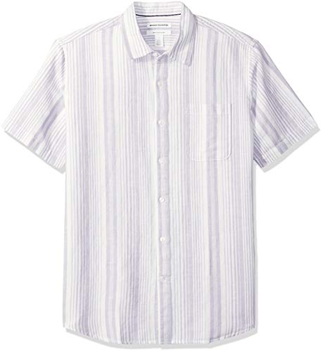 Amazon Essentials - Camisa a cuadros de lino con manga corta para hombre., Lavendar Stripe, US L (EU L)