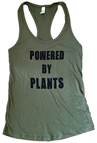 The Bold Banana Women's Powered by Plants Tank Top- L - Military Green