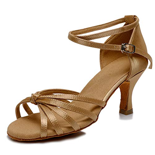 VASHCAME - Donna Scarpe da Ballo Latino/Sala da Ballo/Standard Tacco 5cm/7cm Nodo Beige 39 (Tacco-7cm)