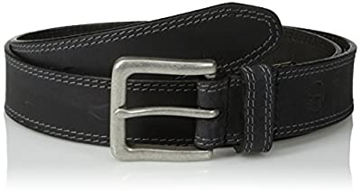 Timberland Men's Classic Leather Jean Belt 1.4 Inches Wide (Big & Tall Sizes Available), Black (Stitched), 38