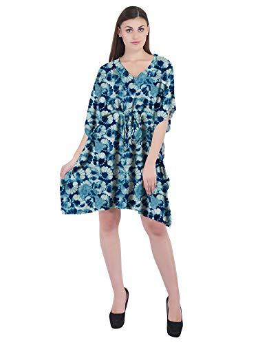 RADANYA Blumen-Kaftan für Damen, aus Baumwolle, Sommerkleid, Knielang, lockere Kurze Überziehung, Strandkleid, Caftan - Blau - 36